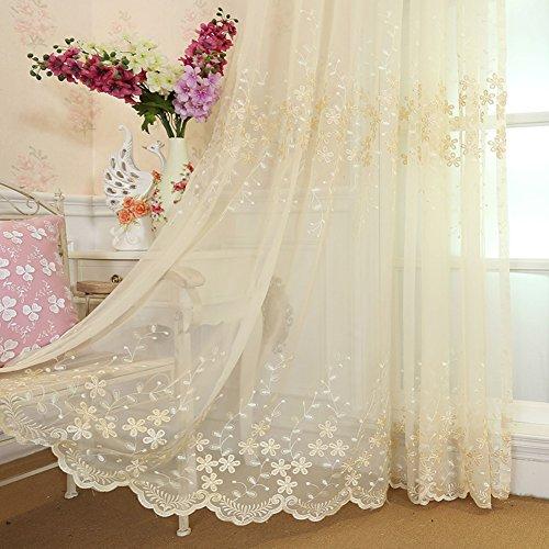 Tenda del ricamo, Europea Idilliaco stile Tenda in tulle Per Camera da  letto Soggiorno Balcone Bovindo Pannelli finestra-Beige  300x260cm(118x102inch)