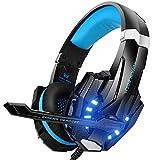 VersionTECH. Auriculares Gaming Estéreo Profesional Bass Over-Ear Con Micrófono y 3.5mm Jack, Luz LED, Bajo Ruido Compatible Para PS4 / PC / Nueva Xbox One / Ordenador Portátil (Azul)