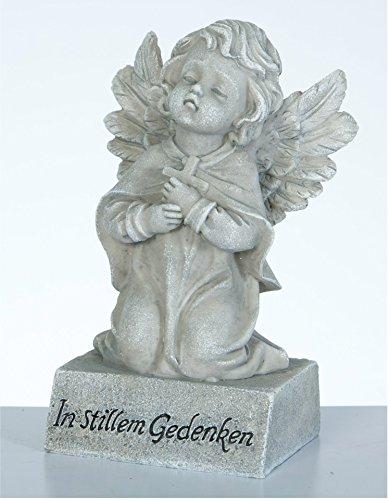 Kleiner Trauerengel Grabschmuck betender Engel *In stillem Gedenken* hell-antik