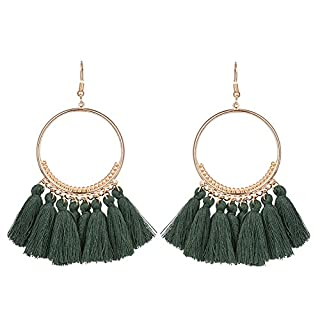 Leisial 1 Paare Damen Round Ohrringe Lange Ohrhänger mit Quasten Ohrringe Grün 8.5CM