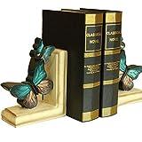 misslight Vintage Blue Butterfly Buchstützen Kreative Bücherregal Schmuck Dekoration