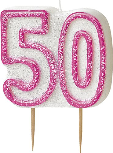 bling-party-decorations-and-tableware-for-50th-birthday-in-pink-glitz-50-candle