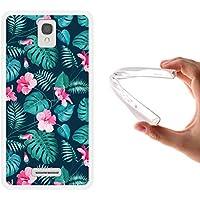Funda Alcatel OneTouch Pop Star 4G LTE, WoowCase [ Alcatel OneTouch Pop Star 4G LTE ] Funda Silicona Gel Flexible Flores Tropicales 2, Carcasa Case TPU Silicona - Transparente