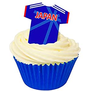 Pack of 12 Edible Wafer Decorations - Japan Football Shirts 201-424