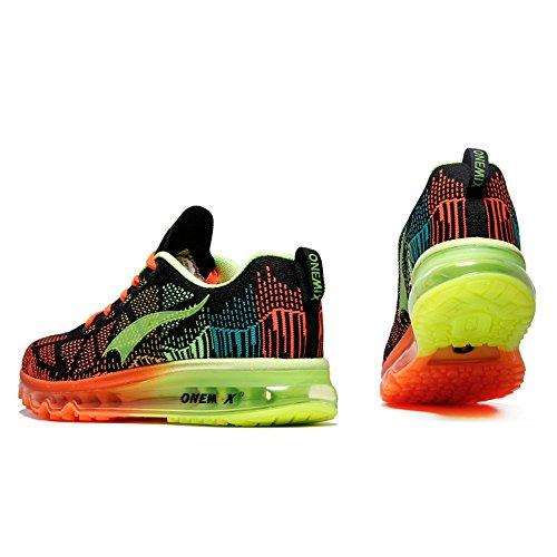 ONEMIX Homme Femme Air Chaussures de Course Music Rhythm 1st Generation Gym Respirante Sneakers Mixte Adulte Noir Vert