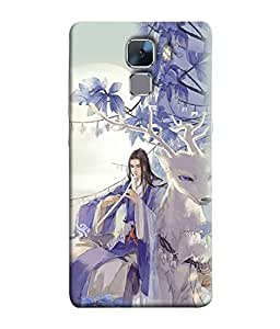PrintVisa Designer Back Case Cover for Huawei Honor 7 (girl playing flute with reindeer)