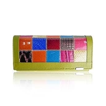 sch ne gr ne patchwork geldb rs 39 aus leder f r damen mit geschenkbox bekleidung. Black Bedroom Furniture Sets. Home Design Ideas