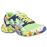 Damen Sport Muster Lauf Neon Sneakers Sneaker Low Profilsohle Schnürer Damen Sport Schuhe 140112 Neongrün 38 Flandell