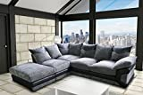 Grande Nuovo Dino Corner Sofa Set or 3 Seater and 2 Seater Settees Couches Color Variations Available This variation includes: (Black & Grey, Left Hand Set) by Grande Nuovo