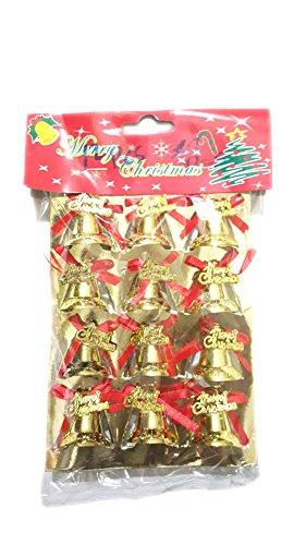 mashmart 12Confezione Natale Golden Bells con nastro e Natale Albero di Natale ornamenti decorazioni per (Animated Christmas Decor)
