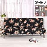 Monba Sofabezug mit Blumenmuster, Armlos, Polyester Stretch Schonbezüge Sitzbezug Couch Schutz passt Klappsofa Bett ohne Armlehnen Stil 3
