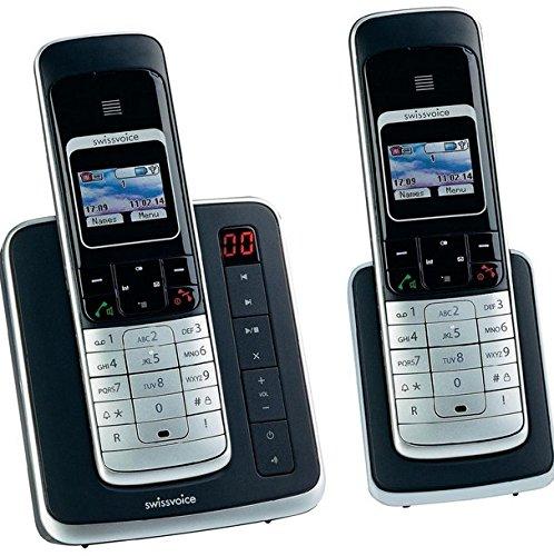 Swissvoice Eurit 459 TAM Colour Duo Schnurloses ISDN Telefon mit Anrufbeantworter und graphischem hintergrundbeleuchtetem Farbdisplay (DECT, FullECO)