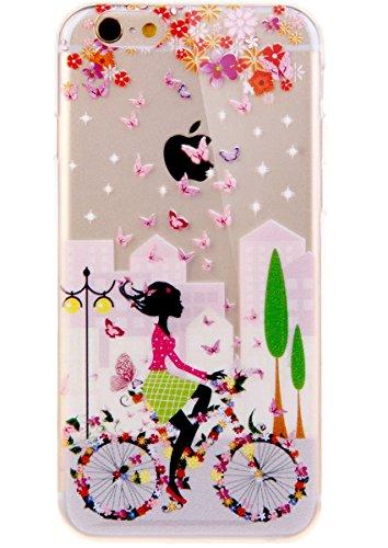 Funda para iPhone 5C, Case Cover para iPhone 5C, ISAKEN Transparente Ultra Slim Carcasa de Silicona TPU con Diseño Resistente a Arañazos Trasera Bumper Protección Case Cover Funda Cáscara para Apple iPhone 5C (Chica Bicicleta)