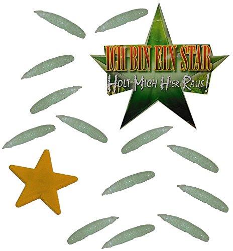 mit 13 Kunststoff Maden - Glow in The Dark ! - Ich Bin EIN Star - Holt Mich Hier Raus - Dschungelcamp - für Party Dekoration lustig eckelig Dschung.. ()