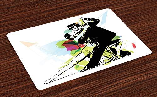 Soefipok Tanz-Tischsets, abstrakte Kunst Illustration der Latino-Tanzpaare in Kostümen Ballsaal-Performance, waschbare Stoff Tischsets für Esszimmer Küchentisch Dekor , 6er - Abstrakter Tanz Kostüm
