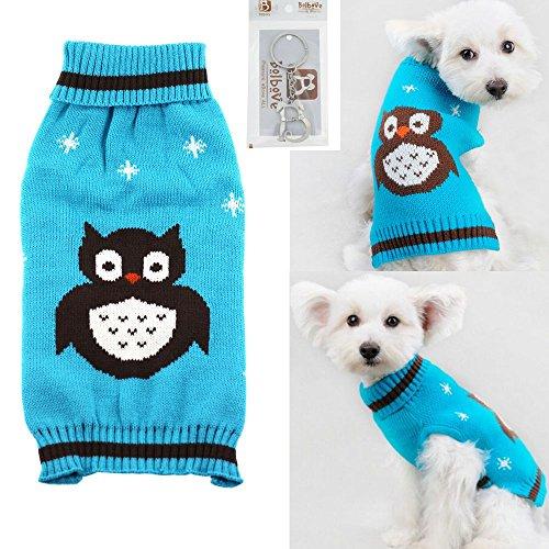 Bolbove Pet Cute Eule Kabel Knit Rollkragen Pullover für Kleine Hunde & Katzen Urlaub Strickwaren kaltem Wetter-Outfit, X-Small, Blau (Sweater-stoff Kabel-knit)