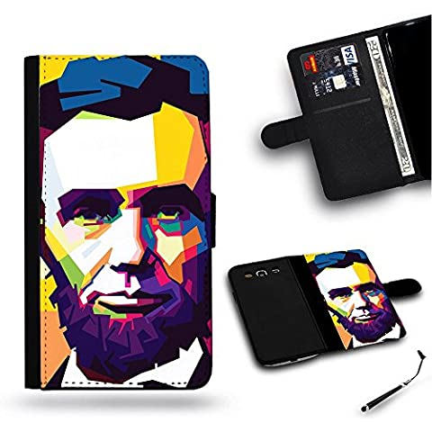 / Stylus for FREE / Protettiva Cassa Pelle Portafoglio Custodia CASE FOR HTC ONE M8 / # Abraham Lincoln Ritratto originale patch Pop Art colore della pittura #Abraham Lincoln Original Portrait Pop Art Color Patches Painting