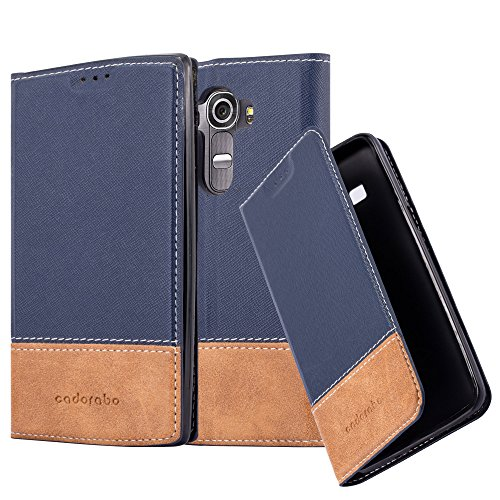 Cadorabo custodia libro per lg g4 / g4 plus in blu scuro marrone – con vani di carte, funzione stand e chiusura magnetica – portafoglio cover case wallet book etui protezione