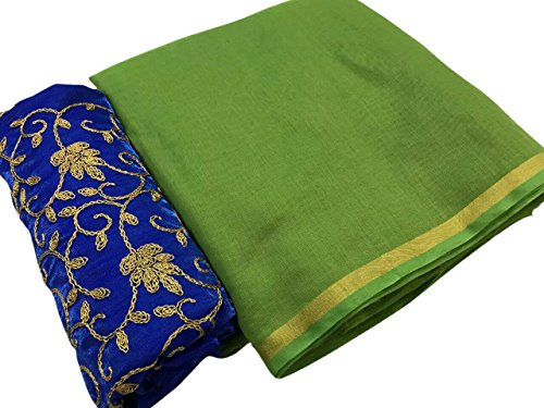 SilverStar Women's Green Color Chanderi Cotton Plain Sari With Blue Color Embroidery...