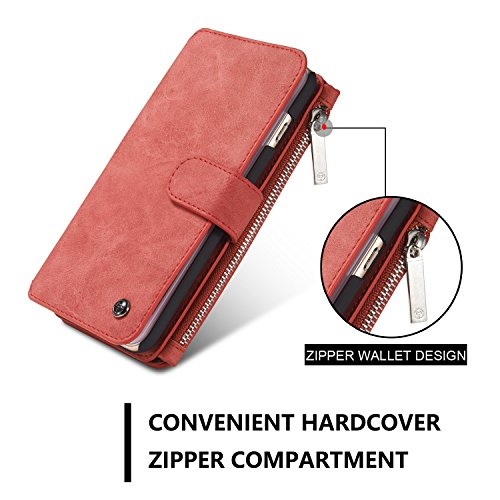 "Wkae CaseMe 2 in 1 Multifunktionsleder Flip Folio Großkapazität Echtleder Brieftasche Card Slots Tasche Fall Telefon Cover für iPhone 6s Plus 5,5 "" ( Color : Red ) Red"