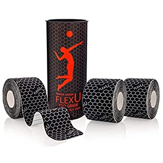 FLEXU – Black Kinesiology Tape; Super Saver 3 Roll Pack Pre-Cut; Advanced Strength and Flexibility Properties; Longer Lasting, Pro Grade Therapeutic Recovery Sports Tape…