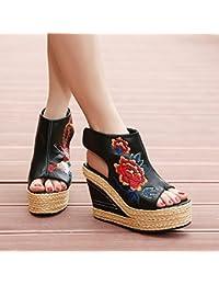 KHSKX-El nuevo boca de pescado zapatos sandalias zapatos de estilo folk Danfeng bordado pendiente toe zapatos...