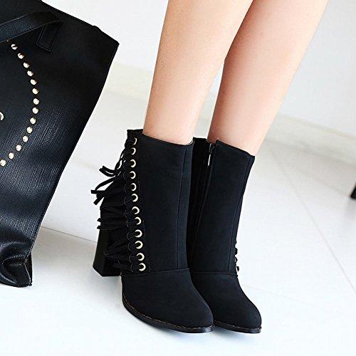Mee Shoes Damen Reißverschluss chunky heels Quaste Nubukleder Stiefel Schwarz
