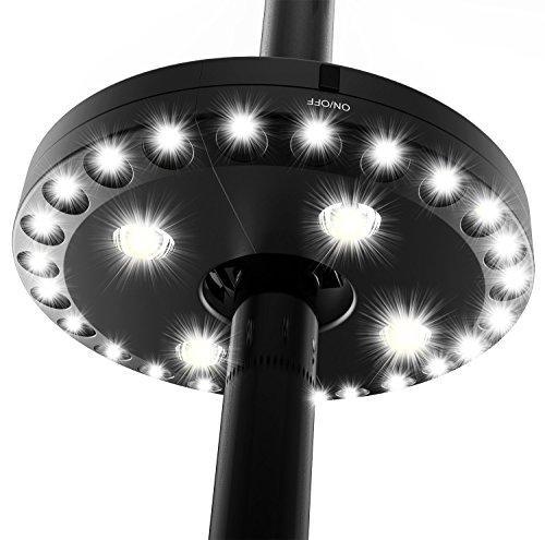 Portabel patio umbrella light, discoball ombrellone luce super luminoso 24+ 4led lampada giardino ombrello pole light per ombrellone, tende da campeggio o attività all' aperto ,4x aa pile nero