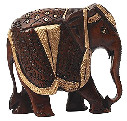 SouvNear Elephant Art Hand Painted 10.2 cm Wooden Animal Sculpture Statue Collectible Figurine