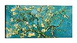 LuxHomeDecor Quadro stampa su tela con telaio in legno Vincent van Gogh Mandorlo in fiore (detail) con vernice effetto dipinto misura 140x70 CM