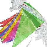 G2PLUS Schöne Wimpelkette 38 M Fahnen Girlande Wimpel mit 100 Stück Farbenfroh Wimpeln ideal für Geburtstagsparty; Feiern (1 PCS)