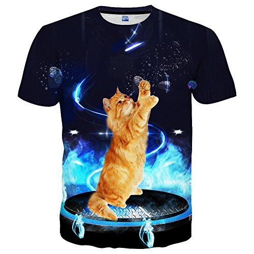 EOWJEED Unisex Casual 3D Kreatives Galaxy Pattern Gedruckt Kurzarm T-Shirts Top Tees - XXL (Gedruckt Herren T-shirts)
