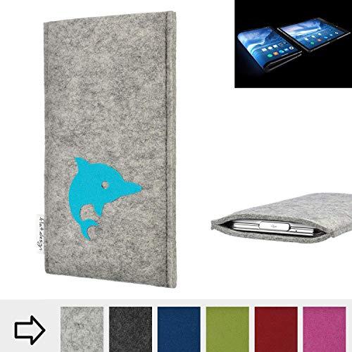 flat.design Handy Hülle für Royole FlexPai FARO mit Delphin handgefertigte Filz Tasche fair