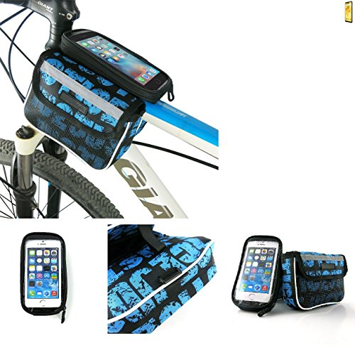 Fahrrad Rahmentasche für Wiko View 2, Fahrradhalterung Rahmenhalterung Handyhalterung Fahrradtasche Handy Smarpthone Frame Bag Halterung Bike mount Wasserabweisend, blau - K-S-Trade(TM)