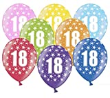 Libetui 10 kunterbunte Luftballons Metallic 30cm Deko zum 18. Geburtstag Party Happy Birthday Dekoration (Zahl 18)
