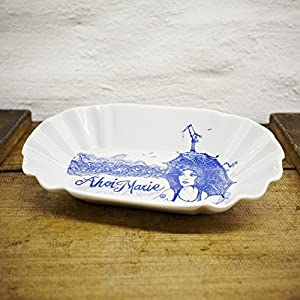 Pommesschale Porzellan - Handgemacht von Ahoi Marie - Motiv Seemannsbraut Lona - Maritime Currywurst-Schale original aus dem Norden