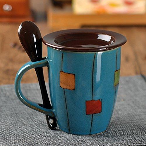 Tasses en céramique créatives de tambour tasses de lait avec le couvercle et la cuillère tasses de café tasses de ménage tasses de l'eau (Color : Blue)
