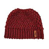 FOONEE Messy Bun Beanie Pferdeschwanz-Mütze mit Pferdeschwanz-Loch, gestrickt, hoher Dutt, Pferdeschwanz, für Damen, Azurblau rot