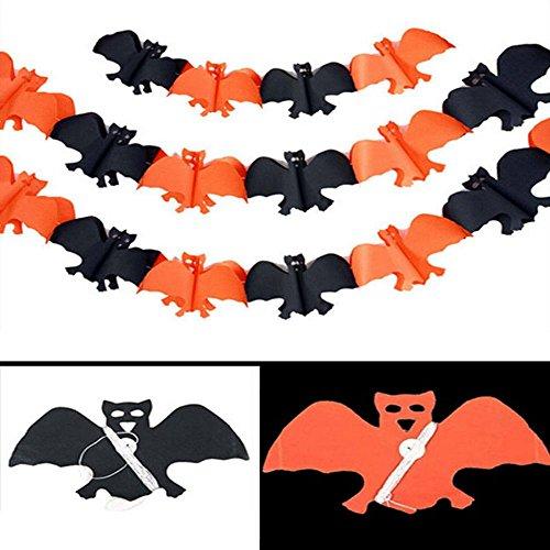 Halloween Scary Haus (MAXGOODS 3 Stk Scary Girlande Kürbis Spinne Hanging Ghost Papier Halloween Spuk Haus Dekor - Fledermaus -)