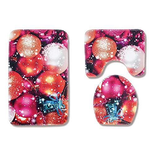 Aolvo 3 pezzi di stuoia di Babbo Natale Tappeto antiscivolo da bagno Decor Tappetino WC antiscivolo per decorazioni natalizie rosse Decorazione del bagno