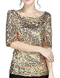 978e3fbb305 VJGOAL Mujer Verano Moda Casual Color sólido Lentejuelas Cuello Redondo  Manga Corta Tops clásico Salvaje Sección