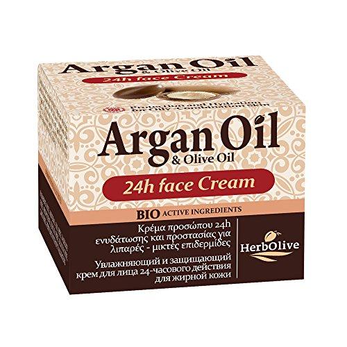 Herbolive Aceite de Argán Crema Facial humedad 24h para las pieles mixtas, 1er Pack (1 x 50 ml)