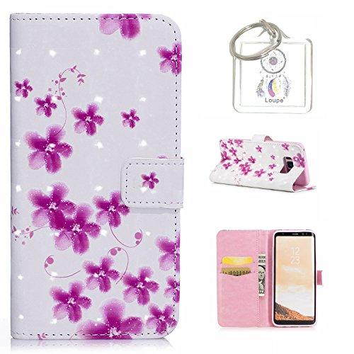 für Galaxy S8 (5,8 zoll) Hülle, Retro 3D Muster PU Leder Hülle Wallet Case Folio Schutzhülle in mit Standfunktion Karteneinschub und Etui Flip Case Schutzhüllen +Schlüsselanhänger (P) (11)