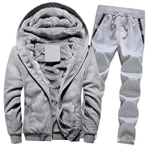 Younthone Bekleidung, Männer Sets, Herren Winter Warm Fleece Zipper Sweater Jacke Outwear Coat Top Hosen Sets Outwear Pants Kapuzenpullover Steppjacke Winterjacke Pullover Sweatshirt (M,Grau)