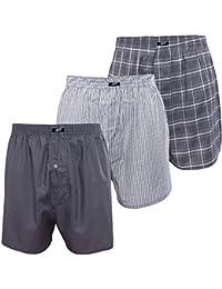 3er Pack MT® Herren Webboxer Shorts - American Boxer - Kariert, gestreift und uni im Pack - Qualität von celodoro