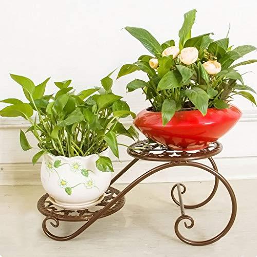 ZBL Zml Eisen Multi-Layer Flower Rack Bodentöpfe Topfpflanzer Europäischen Stil Wohnzimmer Balkon Blumenregal hgfhfg/Bronze -