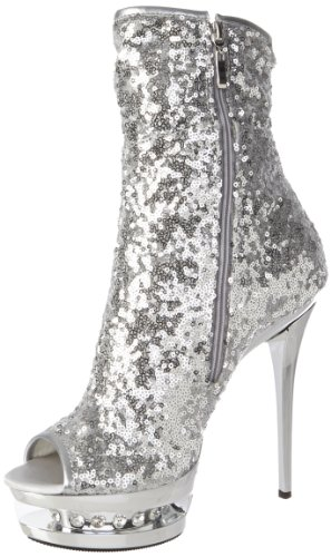 Pleaser BLONDIE-R-1008, Damen Kurzschaft Stiefel, Silber (Slv Sequins/Slv Chrome), 35.5 EU