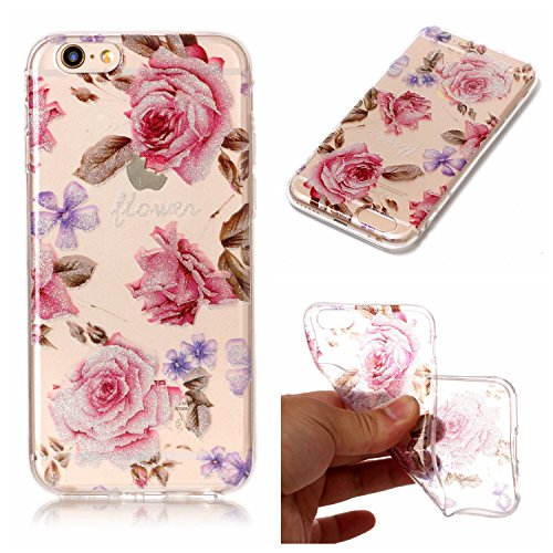 Cover iPhone 6s Plus, Custodia iPhone 6 Plus, LuckyW TPU Soft Silicone Custodia per Apple iPhone 6 Plus/6S Plus (5.5 pollice) Transparente Gomma Morbida Gel Clear Limpido Bumper Case Cover Ultra Slim  Rose