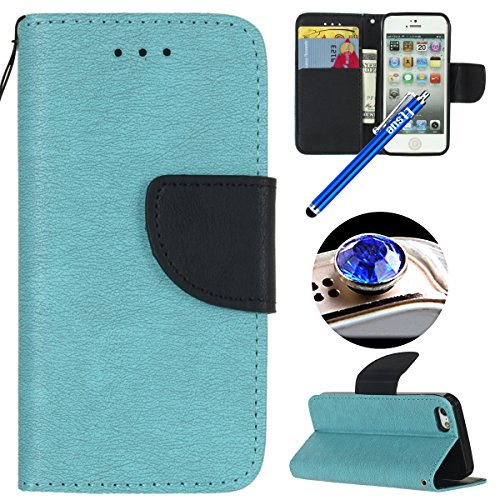 iPhone 5S Custodia in Pelle,iPhone SE Cover Portafoglio con Corda,Etsue Neo Disegni Uomo Donna Semplice Vintage Puro Leather Pu Wallet Case Corpeture Ultra Slim Libro Flip Cover con Magnetica Folio Fi Blu+Nero