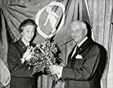 Vintage photo of Eva Munck of Rosenschld, the chairman of the Red Children's Local Association in Malm, is discontinued by TV's famous GP Dr Bo-Ebbe Lfberg